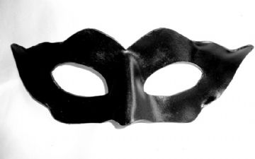 Ladies Genuine Handmade Black  Italian Leather Mask (1)